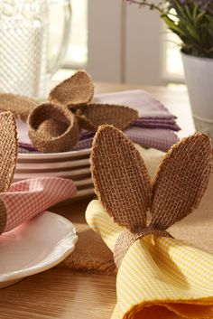 Keep your napkins from hopping away by securely wrapping them in Pier 1's Burlap Bunny Ears Napkin Rings.