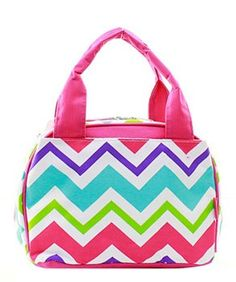 Monogrammed Lunch Bag Multicolor Chevron Pink Trim by DoubleBEmbroidery on Etsy