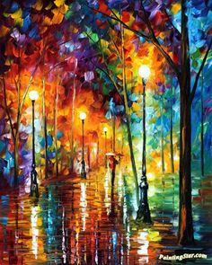 Late stroll Artwork by Leonid Afremov Hand-painted and Art Prints on canvas for sale,you can custom the size and frame