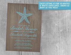 Vintage Starfish Bridal Shower Invitations