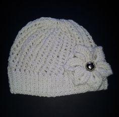 Eyelet Beret Ivory Women's Hat with Flower by LaBufandaLLC on Etsy