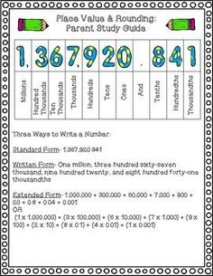 Step-by-step instructions to help parents understand place value and rounding.  Thousandths-millions used.