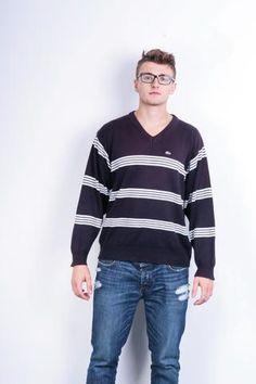 Lacoste Chemise Mens XL Jumper V Neck Striped Purple Cotton