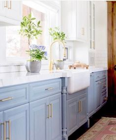 Light blue kitchens – Kitchen cabinets makeover – Kitchen remodel – Blue kitchen cabinets – Hom – White N Black Kitchen Cabinets Blue Kitchen Cabinets, Kitchen Cabinet Colors, Kitchen Redo, 1950s Kitchen, Upper Cabinets, Rustic Kitchen, Kitchen Counters, Wood Countertops, Kitchen Islands