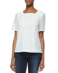 Tory burch Chevron Eyelet Short Sleeve Top in White | Lyst
