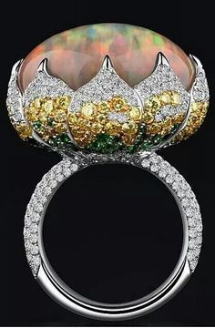Opal, diamonds, sapphires and emeralds ring by Bao Bao Wan - #wow