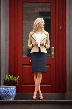 ann taylor red patent mary janes pumps black pencil skirt power pieces camel leather trimmed jacket coat silk capped sleeve blouse multi-str...