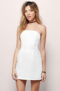 Always Right White Strapless Scallop Bustier Bodycon Mini Dress ...