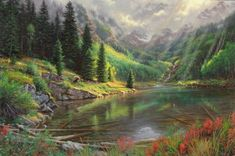 Intimate Valley by Mark Keathley ~ lake mountains sunrays pines brown bear