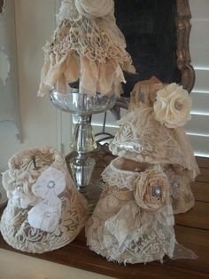 Lampshades,#lace#vintage#dyi#