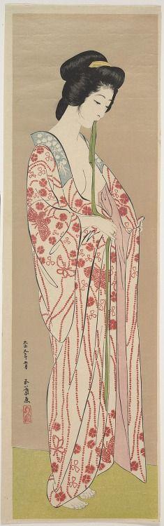 .:. Woman Dressing, by artistHashiguchi Goyô, circa 1920, Japan. Ukiyo-ePolychrome woodblock print; ink and color on paper