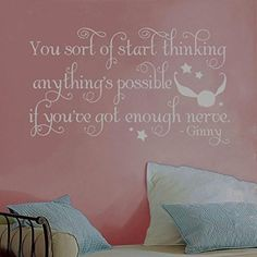 Harry Potter Ginny Quidditch Snitch Quote Vinyl Wall Decal Hogwarts [SILVER]