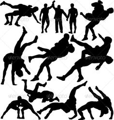 Wrestlers fighting and referee vector silhouettes
