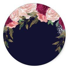 Navy pink floral bridal shower sticker favors in 2019 Flower Background Wallpaper, Flower Backgrounds, Happy Birthday Printable, Eid Crafts, Graduation Diy, Graduation Decorations, Floral Logo, Decoupage Paper, Floral Border