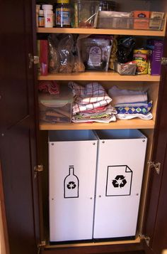 How To: DIY Pantry Recycling Center Makeover. Made with corrugated plastic sheets from the hardware store, customize to fit your space