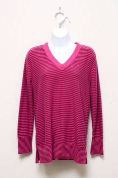 Tommy Hilfiger Women's Pink & Purple Striped V-Neck Cotton Sweater Size S…