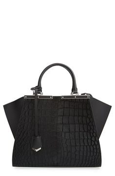 34650c1ee8f4 Fendi  3Jours  Croc Embossed Genuine Calf Hair Shopper available at   Nordstrom Black Handbags