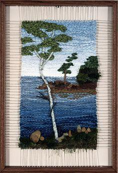 North of Superior Weaving Loom Diy, Pin Weaving, Weaving Art, Weaving Patterns, Tapestry Weaving, Small Tapestry, Landscape Art Quilts, Weaving Wall Hanging, Textile Fiber Art