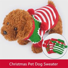 Winter Dog Clothes Cute Christmas Striped Dogs Sweater With Pompoms Dog Special Warm Dog Pet Clothes For Christmas Best