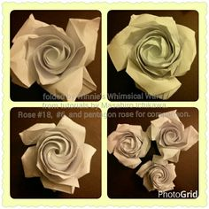 Origami roses paper folding from tutorials by Masahiro Ichikawa rose #18 and #6, pentagon rose for comparison. I really like his #18 rose, but just cant make it to look like his. Folded without precreases so it makes it more challenging. They both need to be closed tighter to make it look more compact.