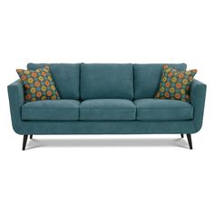 $1030 - sans pillows! Rowe Duncan Sofa - Teal 85L x 34D x 35H inches