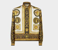 ce0eba5dceb0 Versace Jeans Men s Gold Printed Polo, Bianco, 48 (Small)   men ...
