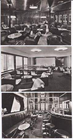 Postcards Top: Smoking Room, First Class Middle: Writingroom, First Class Bottom: Smoking Room Bar, First Class