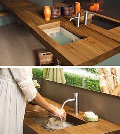 Идеи ванной - Глубина бассейна, разработанный Daniele Lago для итальянского дизайна бренда Яго является стеклянная раковина, что в сочетании с деревом (или других материалов) создает уникальный ищет тщеславия, которая соответствовала бы прямо в любой современной ванной комнаты.