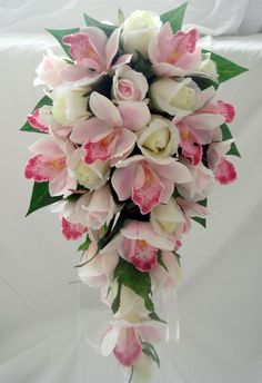 WEDDING BOUQUET,PINK ORCHIDS, PINK  IVORY ROSES