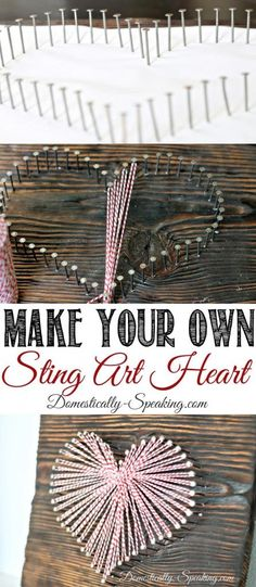 Make Your Own String Art Heart for Valentine's Day. Cute Heart String Art with Baker's Twine Dollar Store Crafts, Crafts To Sell, Easy Crafts, Diy And Crafts, Arts And Crafts, Kids Crafts, Cadre Diy, String Art Heart, String Crafts