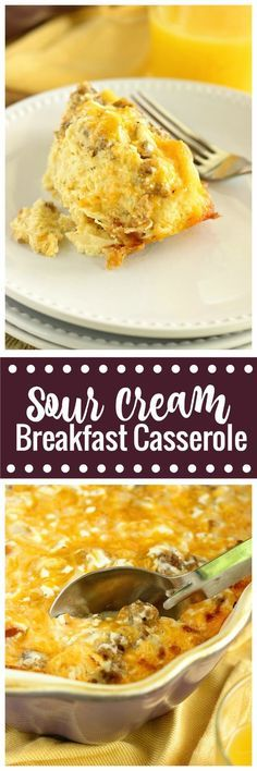 This Sour Cream Breakfast Casserole is one of the BEST yet! It is filled with layers of challah bread, breakfast sausage, eggs, sour cream, and cheese, and it is a perfect make-ahead idea!