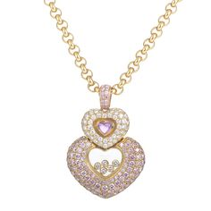 Jewelry: Necklaces Chopard Imperiale 18K Yellow Gold Pink & White Diamond Heart Pendant Necklace, Philadelphia PA US