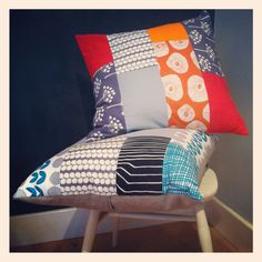 (more pillows that make me happy!)  Scandi fabrics patchwork cushions by Nina's Apartment