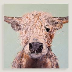 Bring distinctive personality and rustic style to your space with this sweet, shaggy portrait of a highland cow.