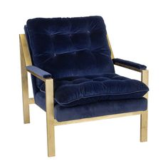 Obsessed with the Cameron Gold Leafed Chair w. Navy Velvet Upholstery from Worlds Away