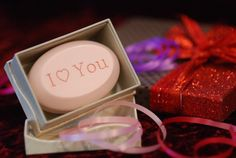 Valentine's Day simplicity - I Love You engraved on our signature scented soap in the single bar box