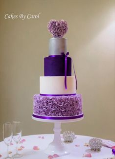Purple Ruffle Wedding Cake by Carol - http://cakesdecor.com/cakes/268912-purple-ruffle-wedding-cake #purpleweddingcakes