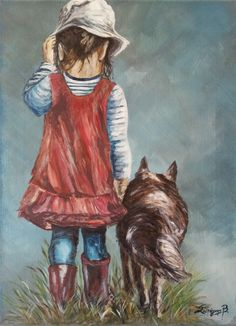 The girl with her dog, Acrylics on canvas