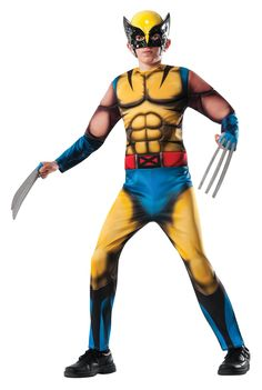 #880782 Includes: Polyester printed jumpsuit with fiber-filled muscle features - eye mask - gauntlets - Wolverine claws available separately Sizes: S, M, L