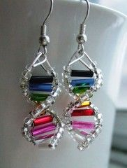 DNA earrings - make these in rainbow!!! :)
