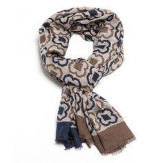 echarpe beige et bleu à grands motifs , echarpe en laine, echarpe homme à  Paris 4450f83c7f1