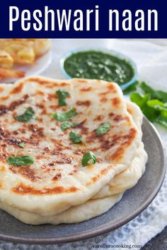 Peshwari naan is a wonderfully tasty filled bread that combines a gently sweet, nutty filling with soft and chewy dough. It's a classic accompaniment to Indian meal that's easy to recreate at home to go with a meal or enjoy as a snack. Veggie Recipes, Indian Food Recipes, Ethnic Recipes, Lunch Recipes, Dinner Recipes, Peshwari Naan Recipe, Best Bread Recipe, Bread Recipes, Cooking Recipes