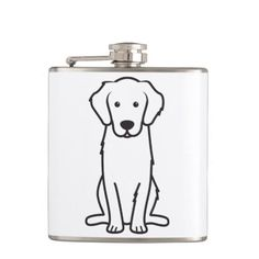 Golden Retriever Dog Cartoon Hip Flasks