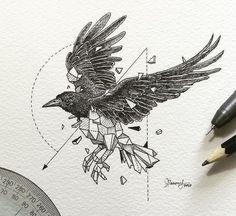 Geometric Raven Tattoo Design