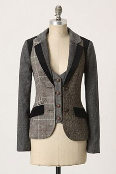 Jacket with vest extension for a favorite that's  become too small in waist. Mock vest?