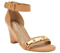 Me Too Ankle Strap Wedges with Metal Detail - Beverly