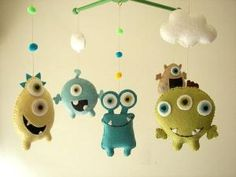"""Baby crib mobile, Monster mobile, Alien mobile, felt mobile, nursery mobile """"Monster Friends-Aqua"""" by Pikssik"""