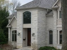 Dovewhite and splitface grey by Eden Stone Brick, Garage Doors, Exterior, Mansions, Stone, House Styles, Grey, Outdoor Decor, Home Decor