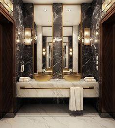 Luxury bathroom design with Art Deco style Luxury Home Decor, Cheap Home Decor, Luxury Homes, Luxury Interior, Modern Luxury Bathroom, Bathroom Design Luxury, Beautiful Bathrooms, Luxury Bathrooms, Master Bathrooms