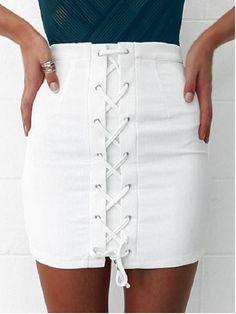 Stylish Lace-Up White Sheathy Women's Skirt